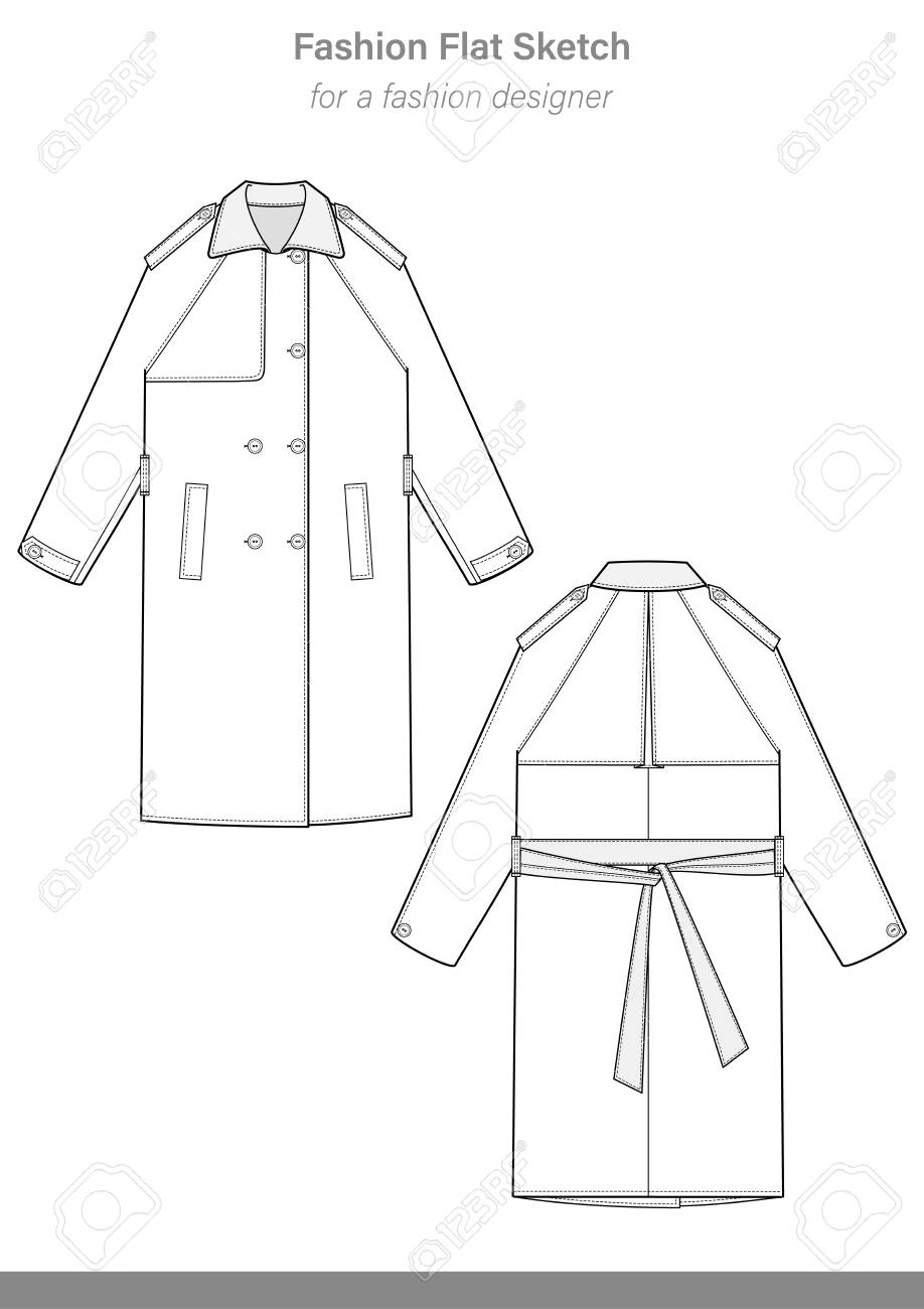 hight resolution of trench coat fashion flat technical drawing template stock vector 114372926