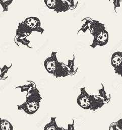 grim reaper doodle seamless pattern background stock vector 40715518 [ 1300 x 1300 Pixel ]