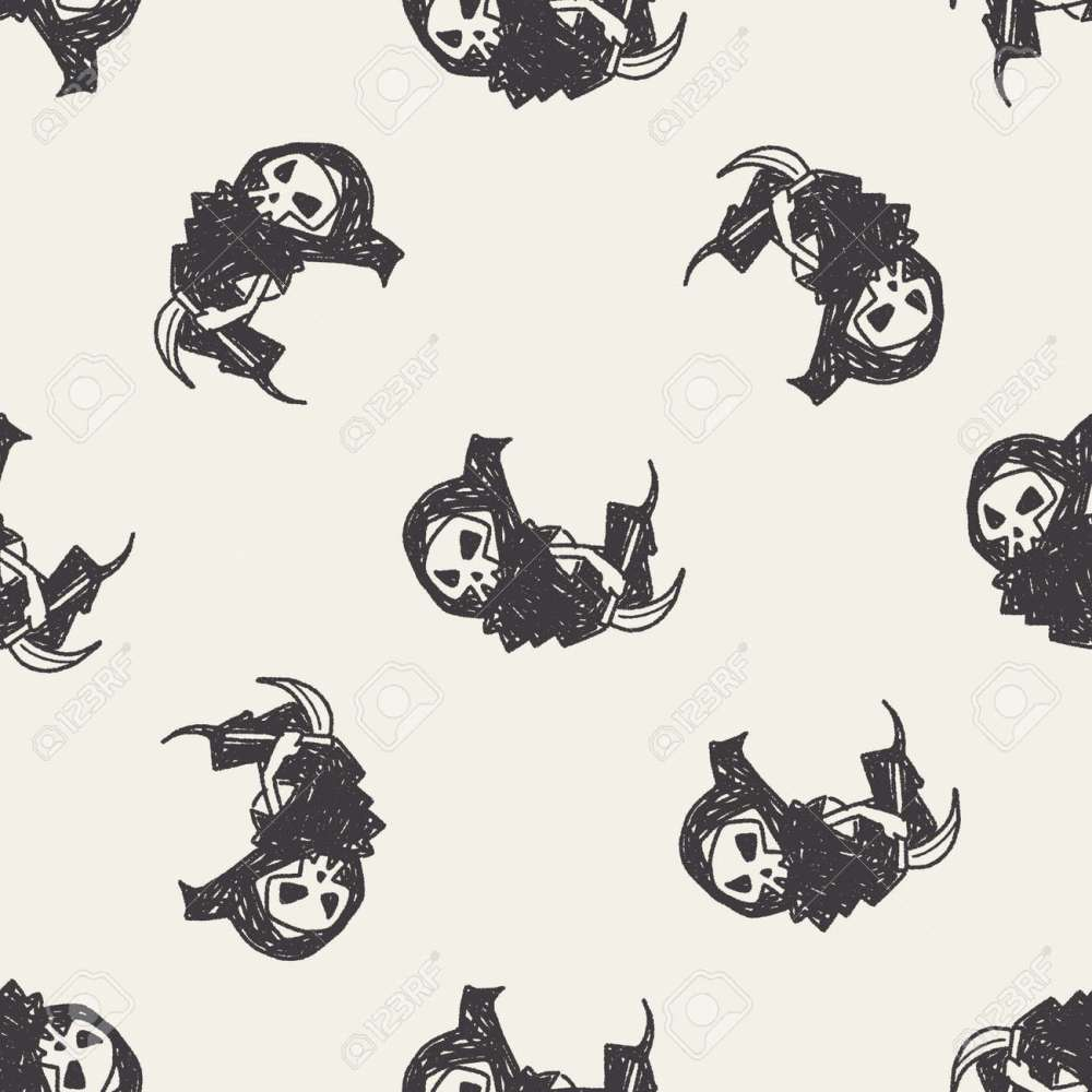 medium resolution of grim reaper doodle seamless pattern background stock vector 40715518