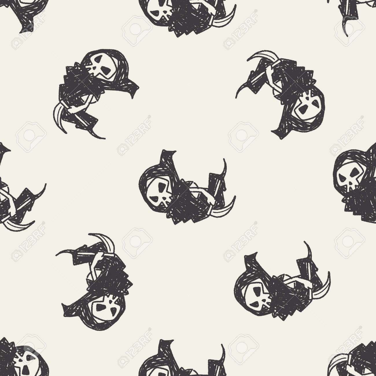 hight resolution of grim reaper doodle seamless pattern background stock vector 40715518