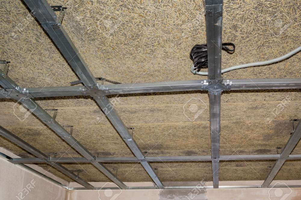 medium resolution of frame of suspended ceiling electrical wiring and fiberboard stock photo 46392884
