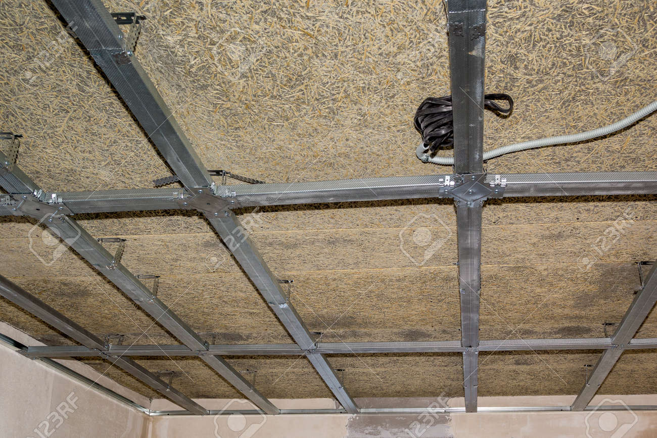 hight resolution of frame of suspended ceiling electrical wiring and fiberboard stock photo 46392884