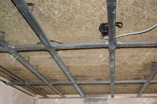 small resolution of frame of suspended ceiling electrical wiring and fiberboard stock photo 46392884