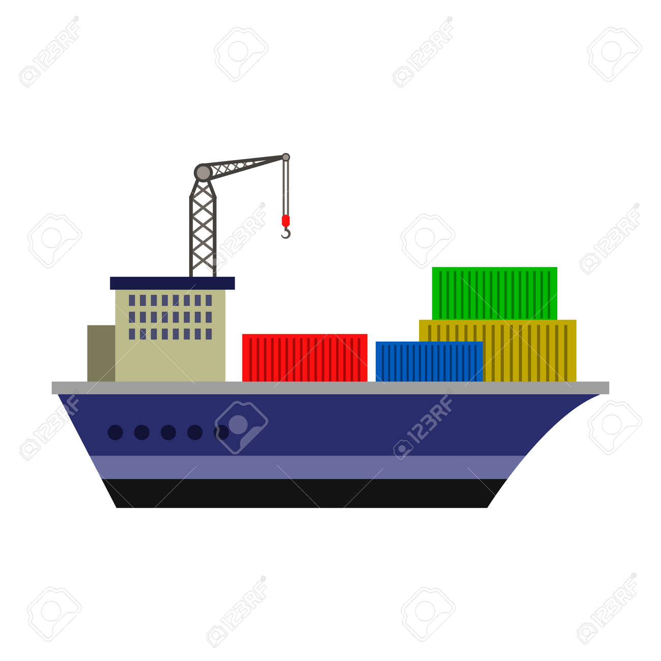 hight resolution of cargo ship flat icon stock vector 74181854