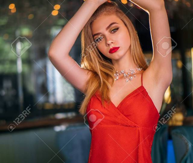 Party Photo Of Elegance Sexy Lady In Red Dress With Red Lips Stock Photo 105074972