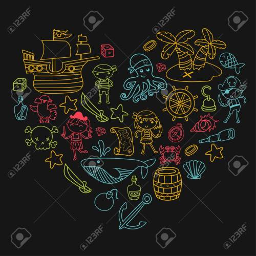 small resolution of heart shape children playing pirates boys and girls in school preschool halloween party treasure