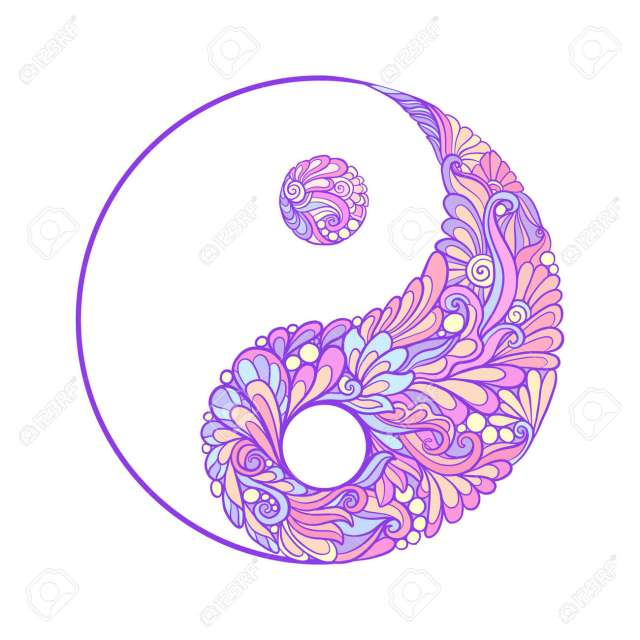 Symbol Für Yin Und Yang. Diese Illustration Kann Als Ein Druck Auf