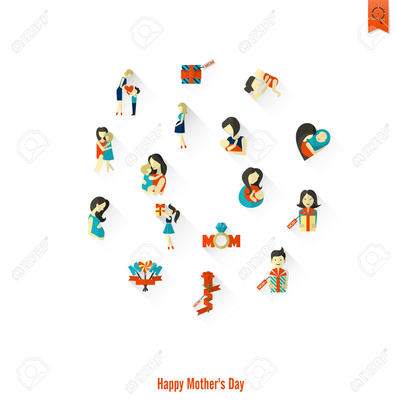 hight resolution of happy mothers day clip art design icon set stock vector 88688948
