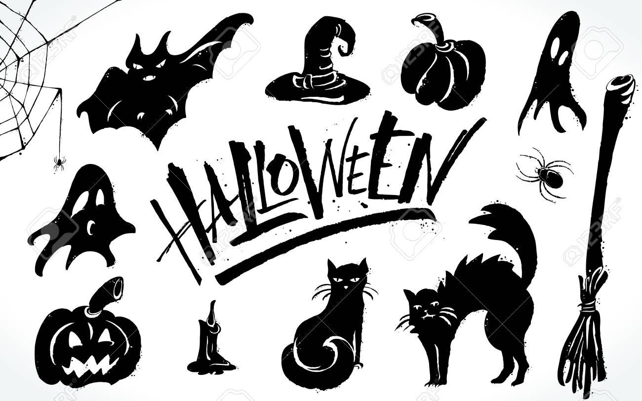 hight resolution of halloween clipart set stock vector 88028673