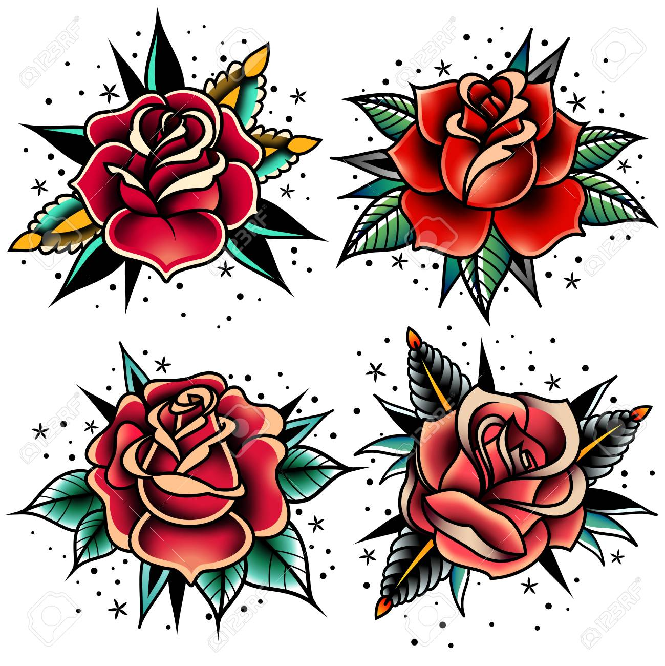 Set Of Four Old School Tattoo Roses Royalty Free Cliparts Vectors