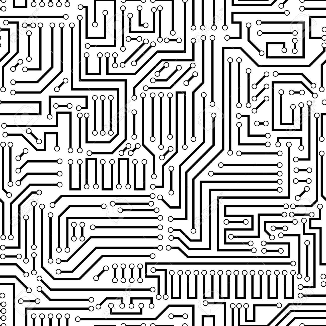 hight resolution of printed circuit texture background seamless black and white seamless printed wiring board background vector illustration