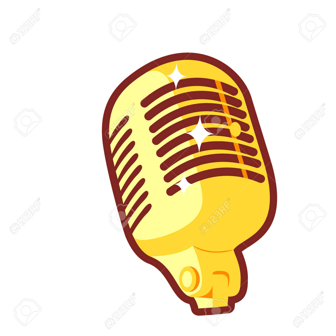 cartoon golden microphone