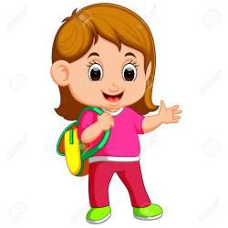 School Girl Cartoon Walking Royalty Free Cliparts Vectors And Stock Illustration Image 96683054