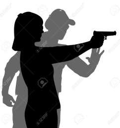 instructor assisting woman aiming hand gun at firing range [ 1300 x 1300 Pixel ]