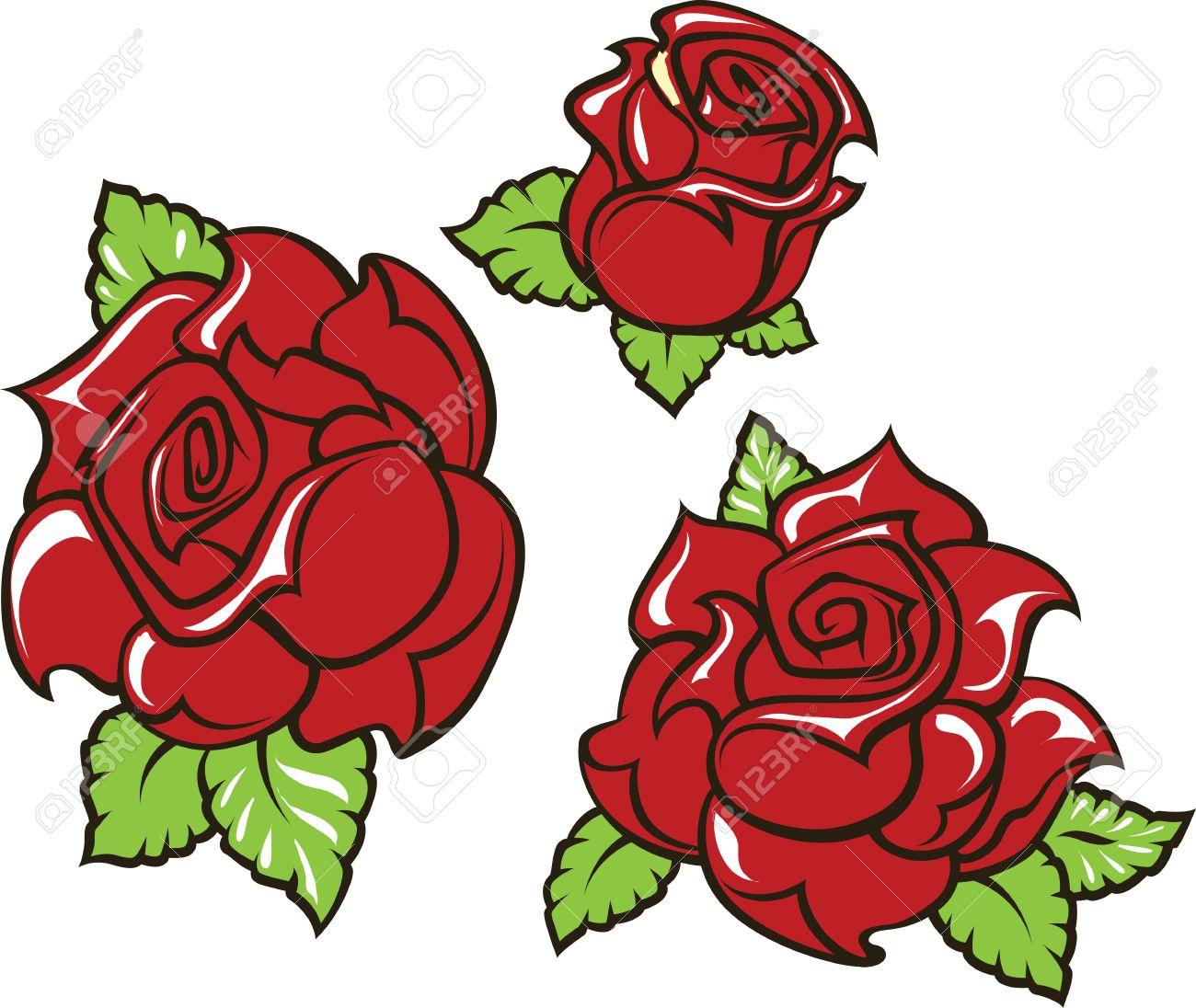 La Vieja Escuela Estilo Del Tatuaje De Tres Rosas Rojas Con Las