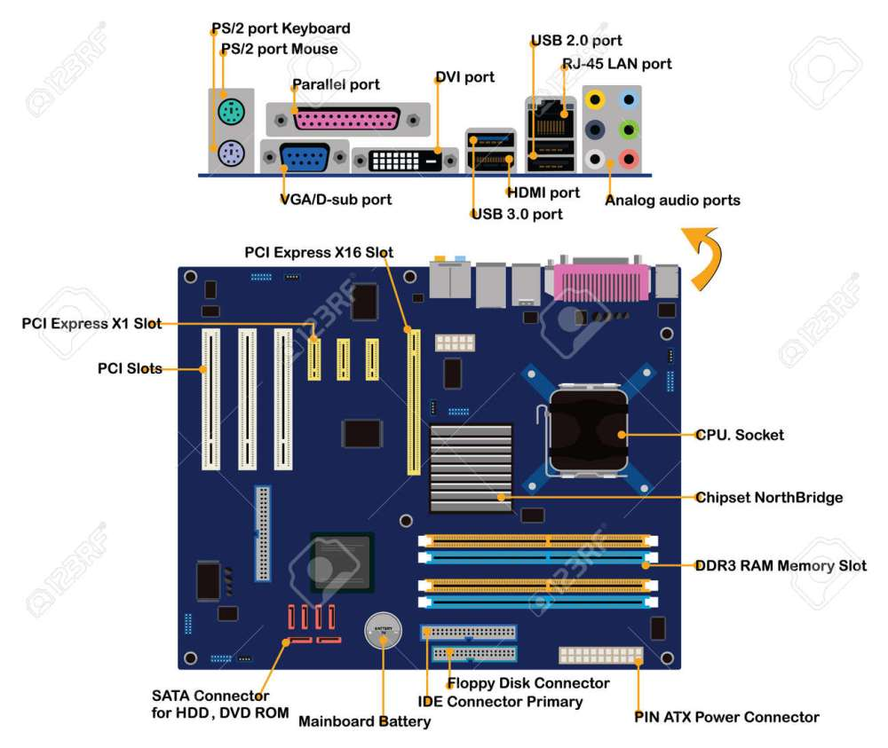 medium resolution of computer motherboard parts connector ports info graphic vector stock vector 45198948
