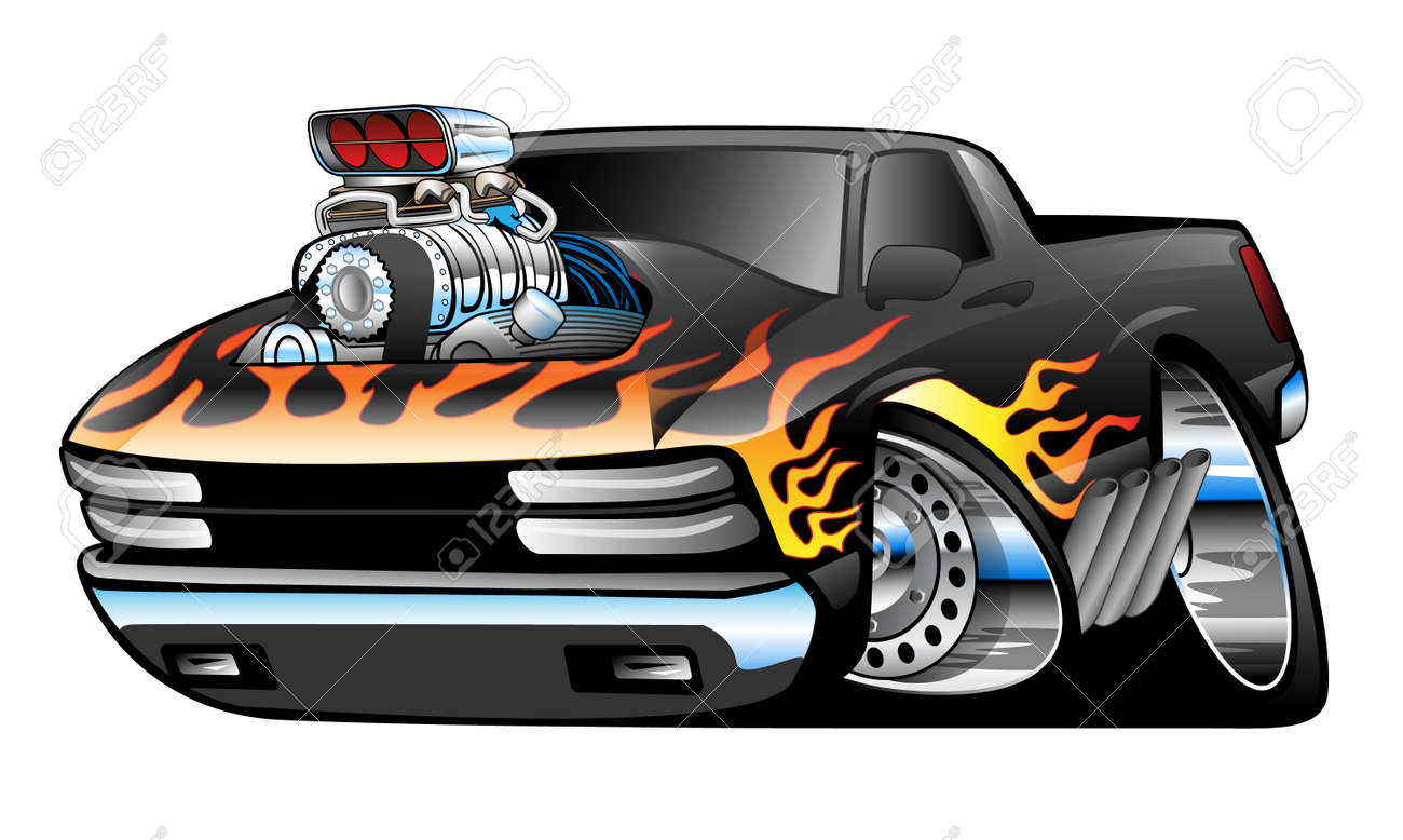 hight resolution of hot rod pickup truck illustration stock vector 40562507
