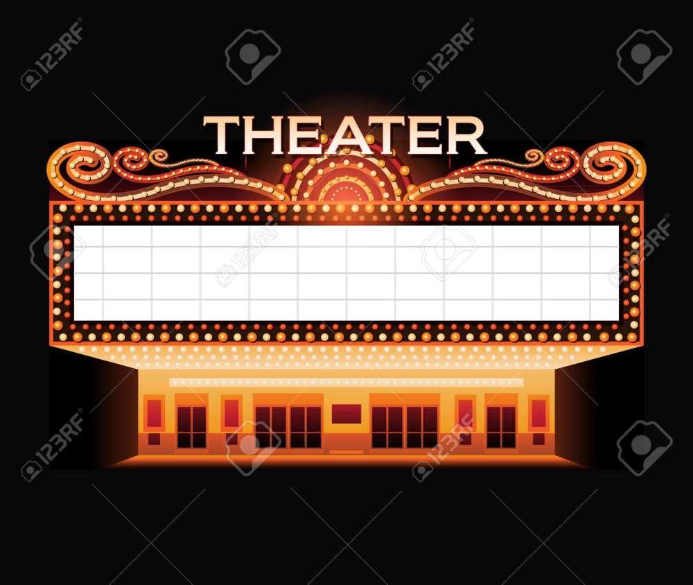 medium resolution of brightly vintage glowing retro cinema neon sign illustration