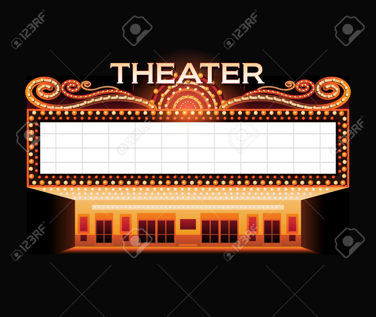 hight resolution of brightly vintage glowing retro cinema neon sign illustration