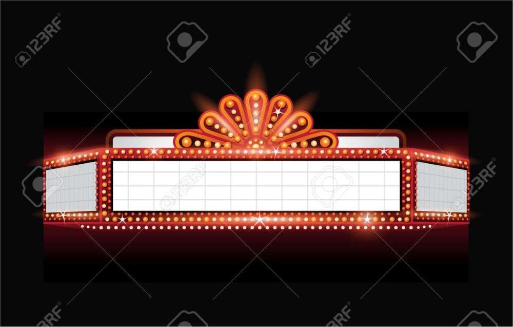 medium resolution of brightly theater glowing retro cinema neon sign stock vector 53756505