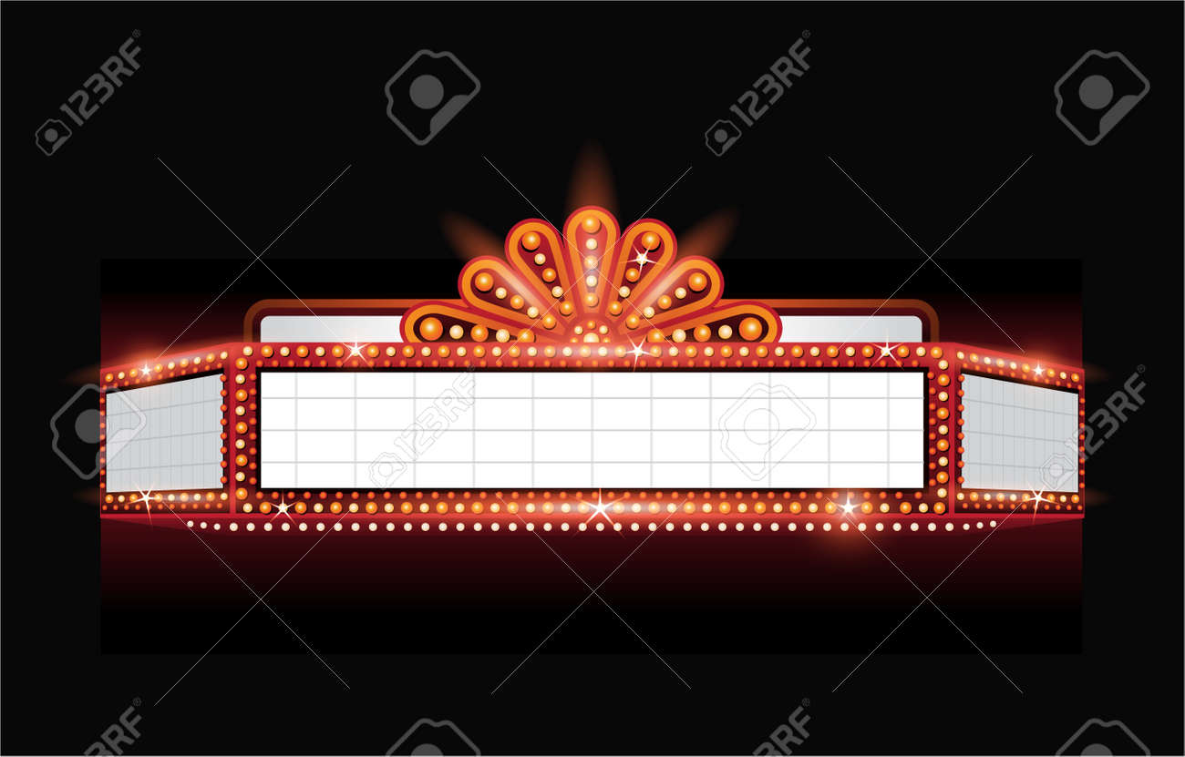 hight resolution of brightly theater glowing retro cinema neon sign stock vector 53756505