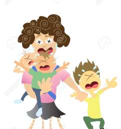 stressed mom very tired with 3 kids stock vector 8199286 [ 975 x 1300 Pixel ]