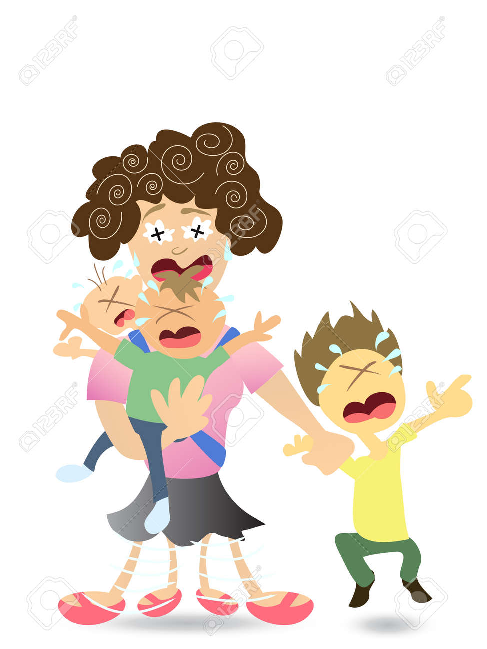 hight resolution of stressed mom very tired with 3 kids stock vector 8199286