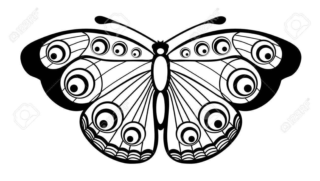 beau papillon noir et blanc isole sur blanc