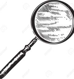 vector vintage engraving of a magnifying glass isolated on white [ 1300 x 1291 Pixel ]