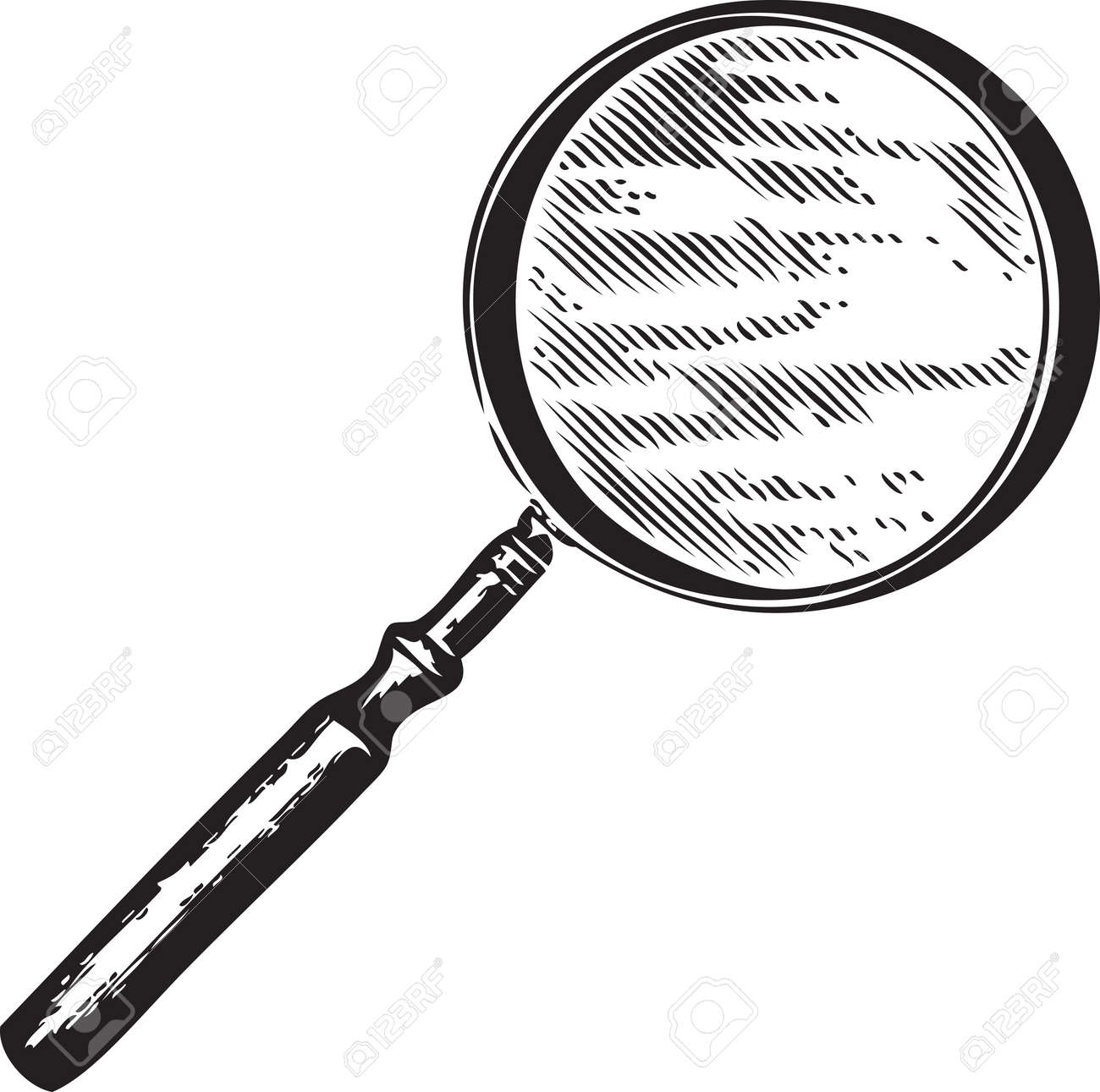 hight resolution of vector vintage engraving of a magnifying glass isolated on white