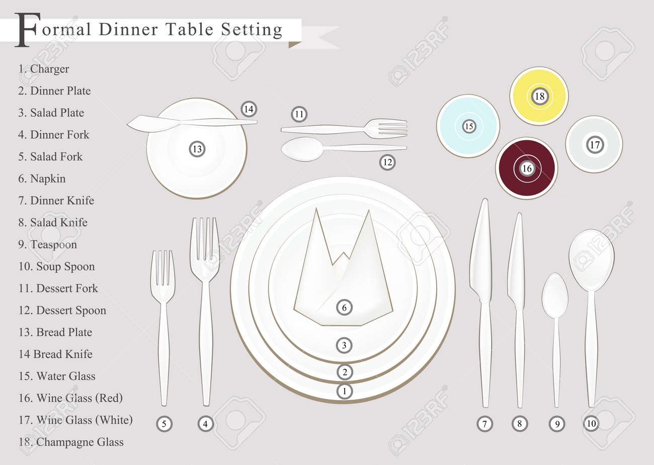 hight resolution of formal dinner business dinner or formal dinner table setting preparing for special occasions stock
