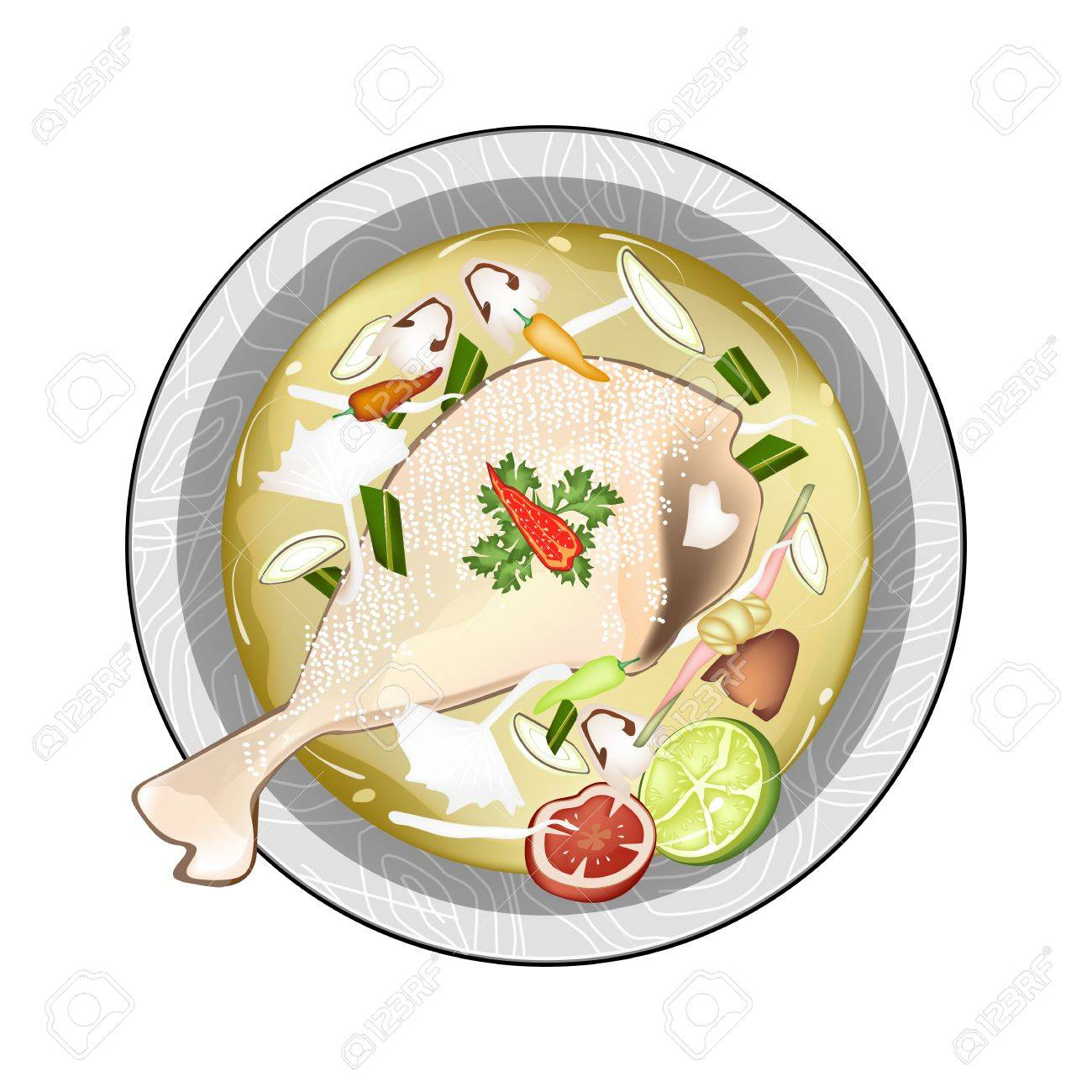 hight resolution of thai cuisine chicken tom yum or thai spicy and sour soup with chickens mushroom