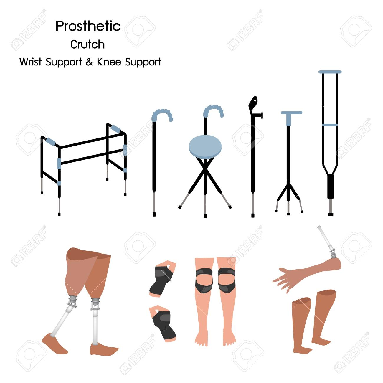 hight resolution of medical concept illustration collection of prosthetic leg knee and arm crutches and walkers