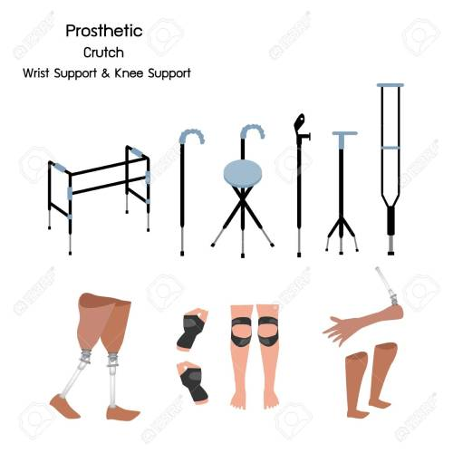 small resolution of medical concept illustration collection of prosthetic leg knee and arm crutches and walkers