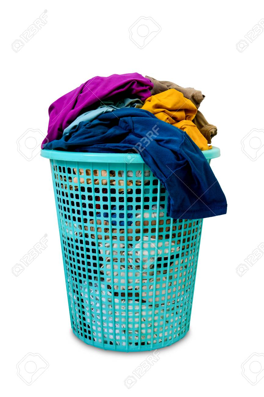 Clipping Path Colorful Dirty Clothes In Green Plastic Laundry Stock Photo Picture And Royalty Free Image Image 107237996