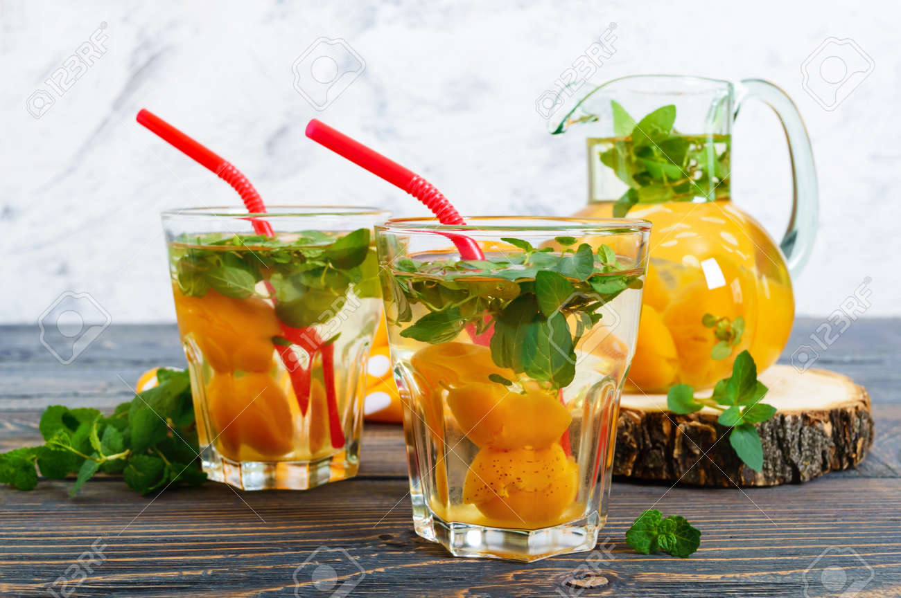 Summer Cold Drinks Delicious Refreshing Drink With Apricot And Stock Photo Picture And Royalty Free Image Image 101418100