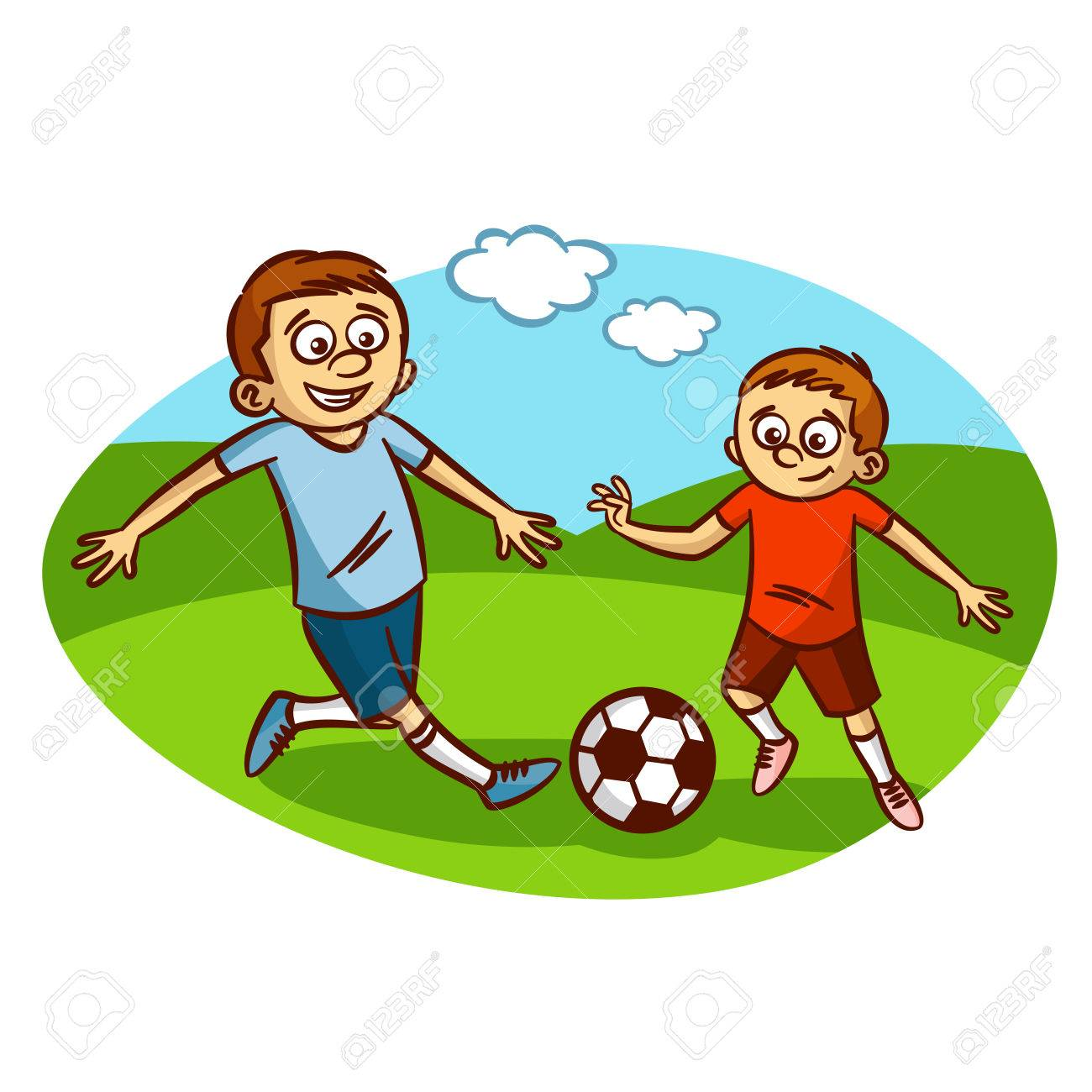 hight resolution of dad and son playing football clipart stock vector 61633148