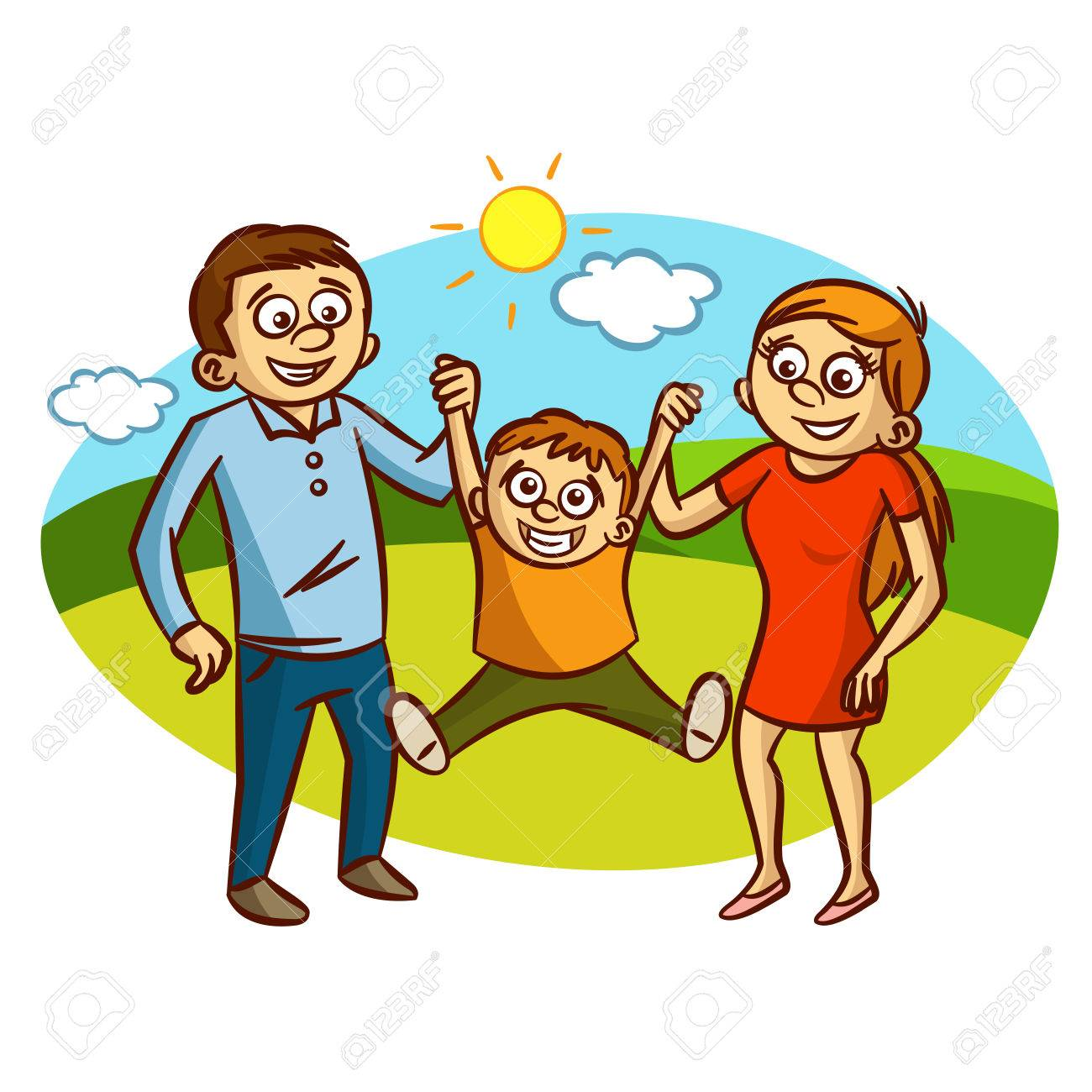 hight resolution of happy family walking outdoors clipart stock vector 61633187