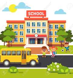 school building bus and front yard with students children flat style vector illustration isolated [ 1300 x 1300 Pixel ]