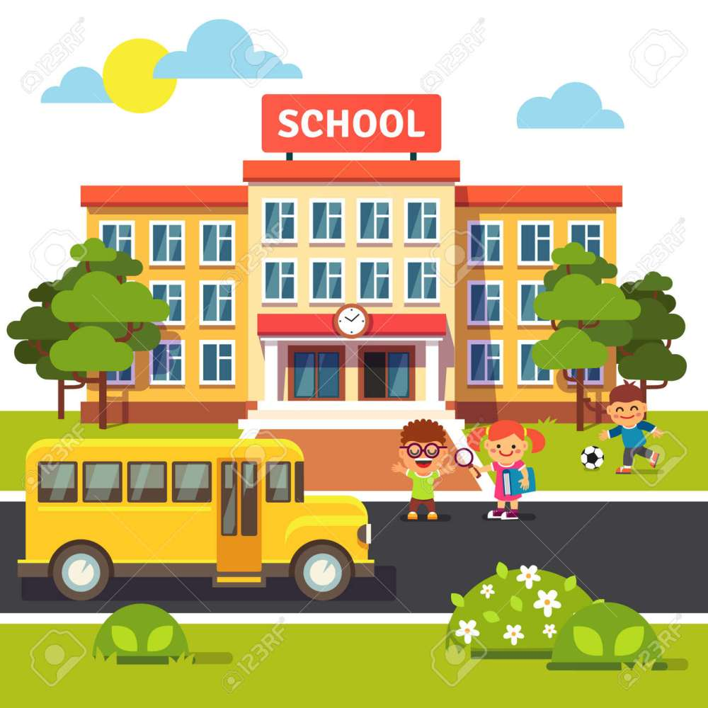 medium resolution of school building bus and front yard with students children flat style vector illustration isolated