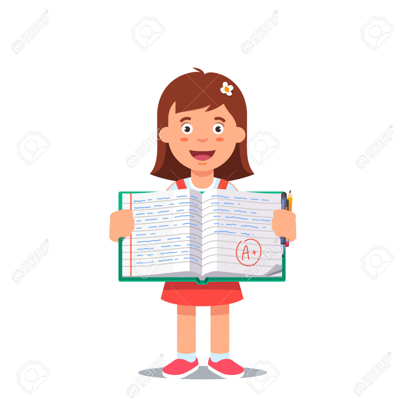 hight resolution of cute little girl holding an open school work book with handwriting flat style color modern