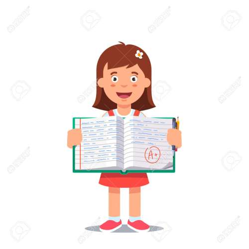 small resolution of cute little girl holding an open school work book with handwriting flat style color modern