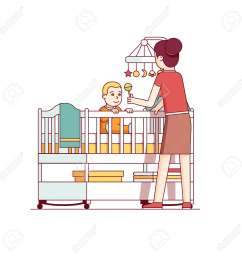 mother playing with baby son sitting in crib bed stock vector 77391436 [ 1300 x 1300 Pixel ]