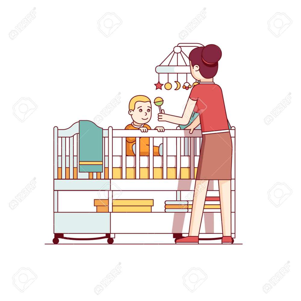 medium resolution of mother playing with baby son sitting in crib bed stock vector 77391436