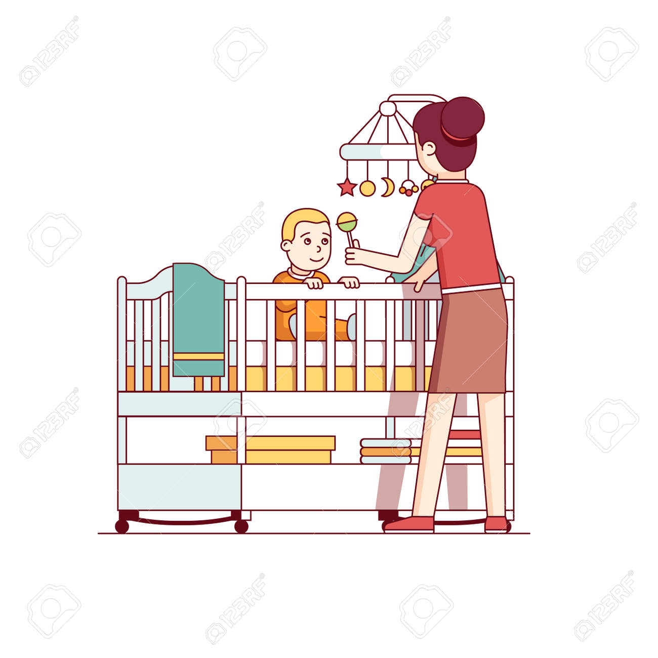 hight resolution of mother playing with baby son sitting in crib bed stock vector 77391436