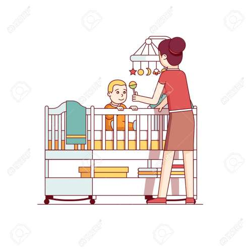 small resolution of mother playing with baby son sitting in crib bed stock vector 77391436