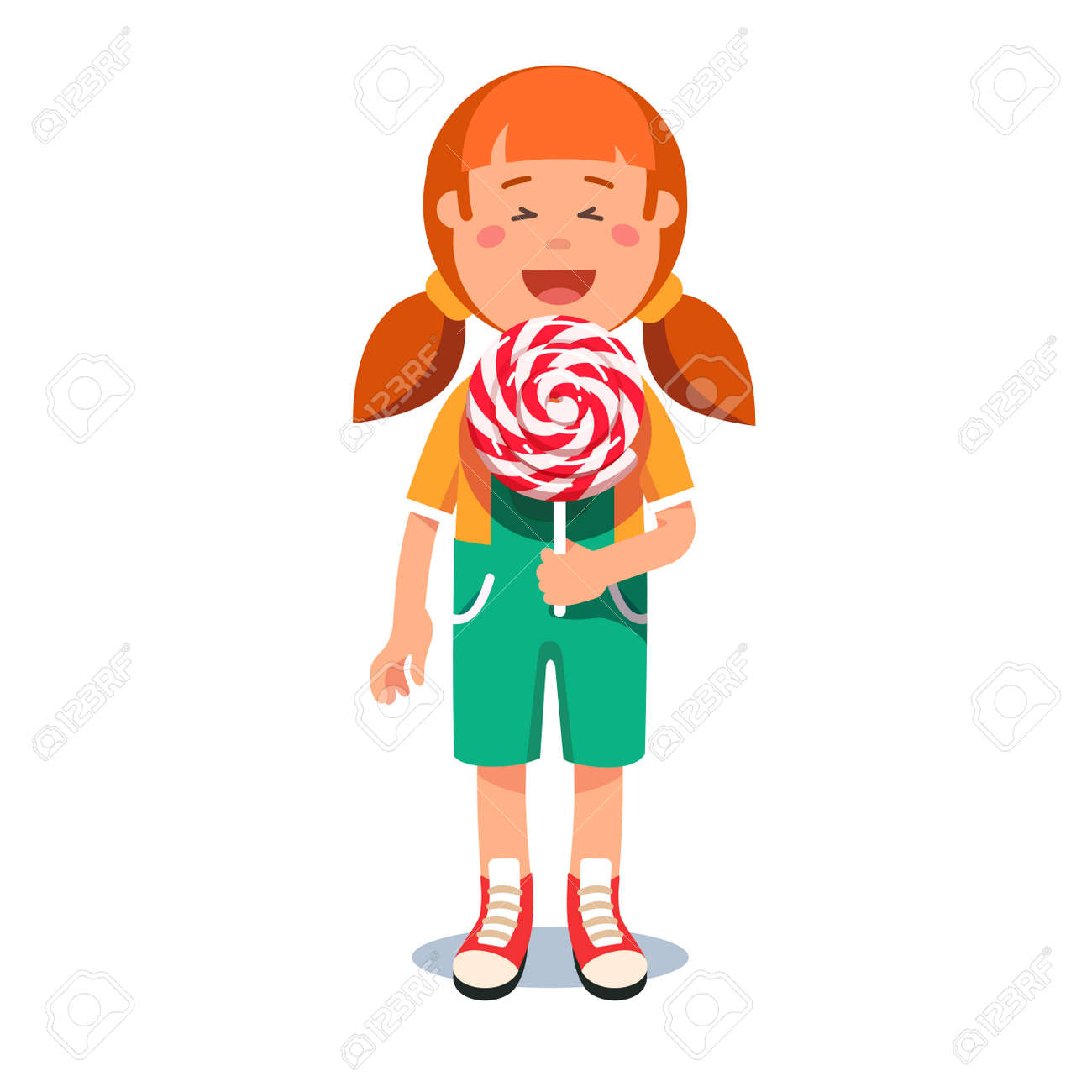 hight resolution of cute little girl standing with big swirly lollipop stock vector 83809444