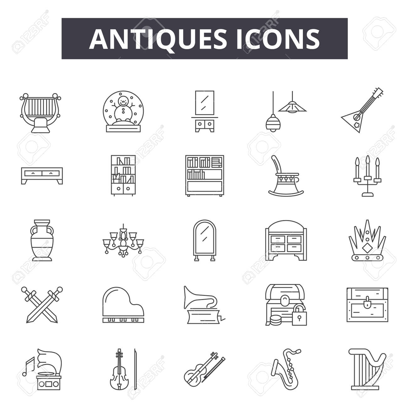 antiques line icons signs