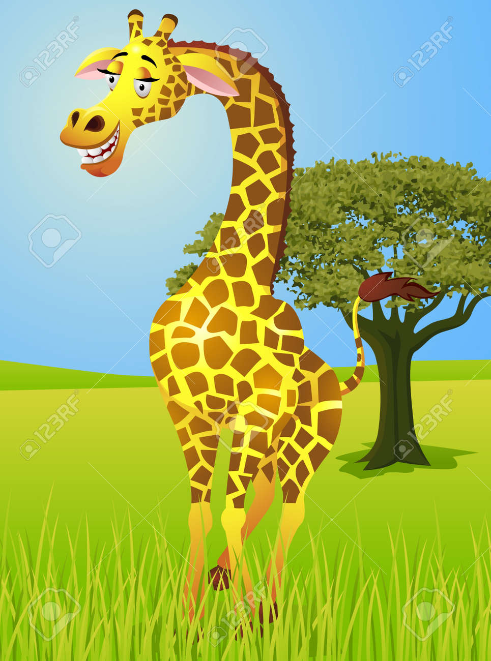 Jungle Clipart : jungle, clipart, Giraffe, Jungle, Royalty, Cliparts,, Vectors,, Stock, Illustration., Image, 13446495.
