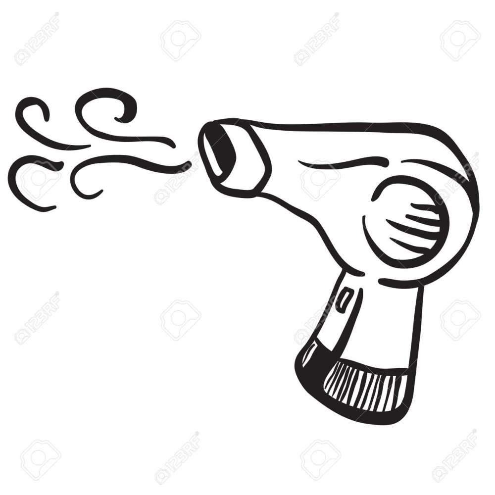 medium resolution of simple black and white hair dryer stock vector 55349685